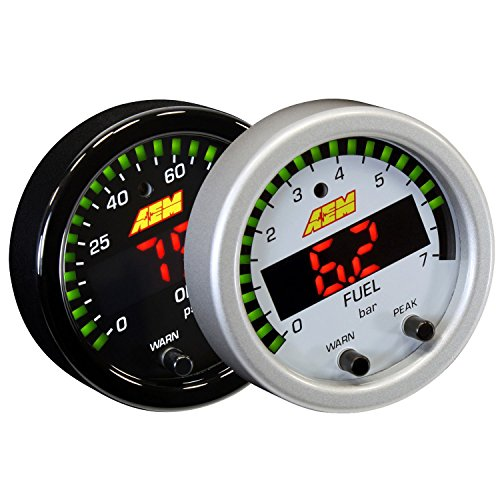 AEM 30-0301 52MM X-SERIES OIL/FUEL PRESSURE GAUGE 100PSI 7BAR W/ WHITE FACE KIT