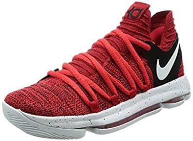 NIKE Men's Zoom KD10 EP, University Red/Pure Platinum, ...