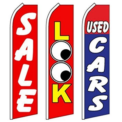 Dealer Flags - Car Auto Dealer Swooper Flutter Feather Flags 3 pack-SALE-LOOK- Used Cars-