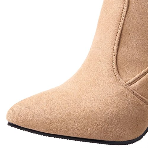Nubuck Toe Women's Autumn AIYOUMEI Boots Heel Winter Ankle Block Pointed FgRxxwa51q