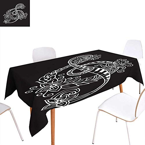 longbuyer Circular Table Cover Hand Drawn Doodle Treble Clef Rectangle/Oblong W 52