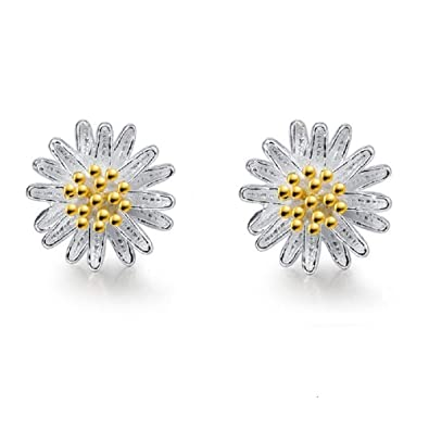 32180e1fb Daisy Flower Shape Earrings 925 Sterling Silver Cute Stud Earrings for  Women Girls Teens Gift with Gift Box: Amazon.co.uk: Jewellery