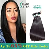 3 Bundles Deal Straight Brazilian Hair 8A Unprocessed Virgin Human Weave Hair Natural Black for Women 95-100g/ 1 Bundles 14 16 18 Inch