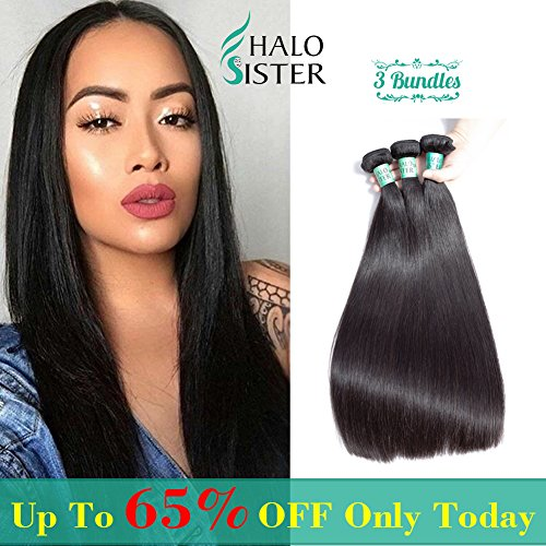 3 Bundles Deal Straight Brazilian Hair 8A Unprocessed Virgin Human Weave Hair Natural Black for Women 95-100g/ 1 Bundles 14 16 18 Inch by halosister