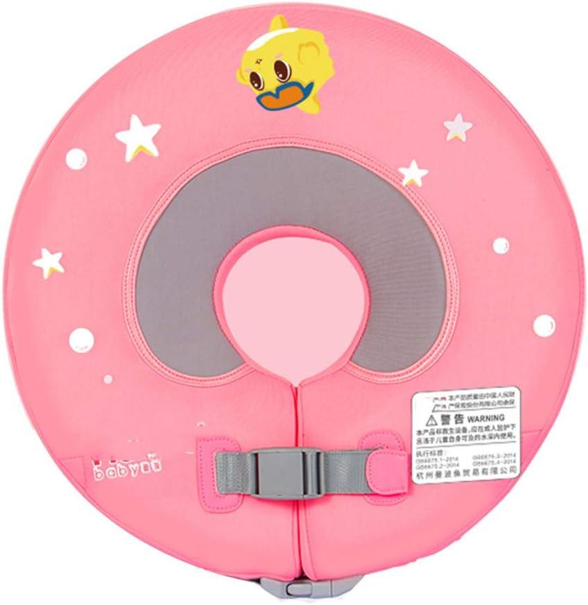LXMBox Cuello del Anillo del Flotador de la natación del bebé / Anillo del Cuello del recién Nacido / Flotador Infantil, Inflable Gratuito, Ajustable, para Piscina de natación para niños,Pink