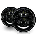 LED Motorcycle HeadLights Head Lamp For Harley Fat Bob FXDF 2008-2016 Black (2 Pack)
