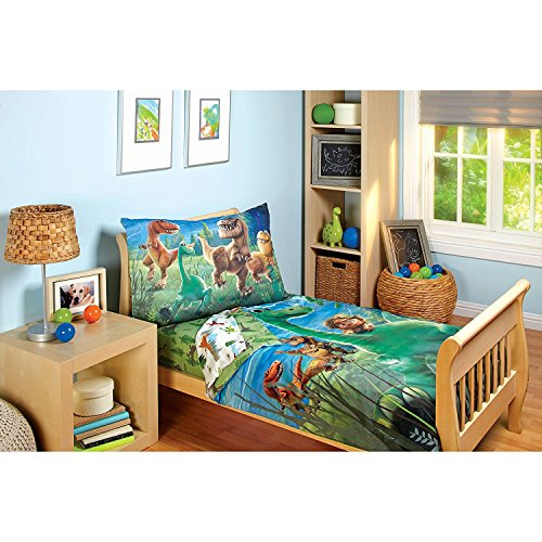 Bed 4 Piece Collection - Disney Good Dino Arlo & Friends 4 Piece Toddler Bed Set, Blue, Green, Tan