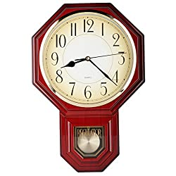 Traditional Schoolhouse Arabic Pendulum Wall Clock Chimes Hourly with Westminster Melody Made in Taiwan, 4AA Batteries Included (PP0258-1A Red Mahogany)