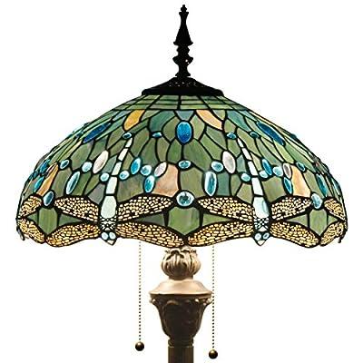 Tiffany Style Reading Floor Lamp Table Desk Lighting Blue Dragonfly W16H64 E26
