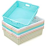 Lawei 8 Pack Paper Organizer Baskets - Plastic Oraganizer Baskets Colorful Plastic Bins with Handles, Classroom Office File Holder for Home Kitchen Office School
