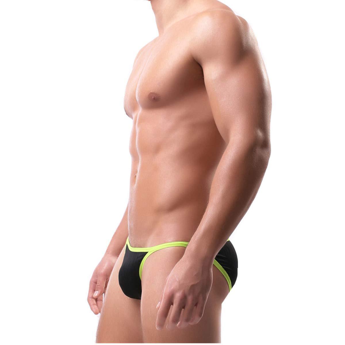 YOOBNG Mens High-Leg Opening Comfortable Bulge Bikini Underwear Breathable Low Rise Strings Briefs