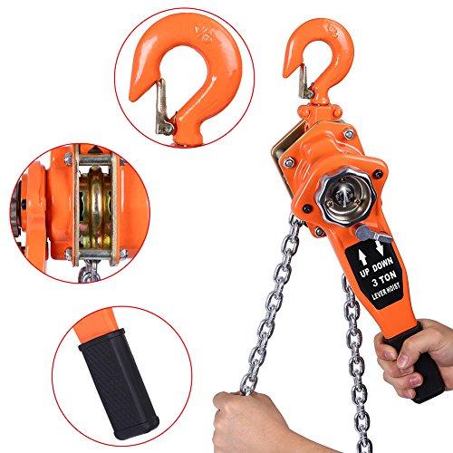 Lever Hoist-0.75t/1.5t/3t Chain Block Hoist Ratchet Hoist Ratchet Lever Pulley Lifting 3meters Orange Color ()
