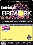 BOISE FIREWORX PREMIUM MULTI-USE COLORED PAPER, 8 1/2'' x 11'', Letter, Crackling Canary, 24 lb., 5000 Sheets/Carton