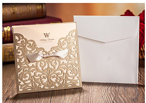 Graces Dawn 100Pcs Laser Cut Lace Flower Pattern Wedding Invitations Cards Set Of 100Pcs  And Blank Cards And Envelopes 6 X 6    Value Pack  Champagne Gold