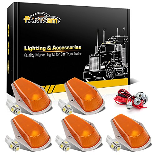 Partsam For 1980 1997 Ford F 150 F 250 F 350 F Super Duty Amber Cab Marker Light 194 5 5050 Smd White Led Bulbs T10 Harness 5pcs Set
