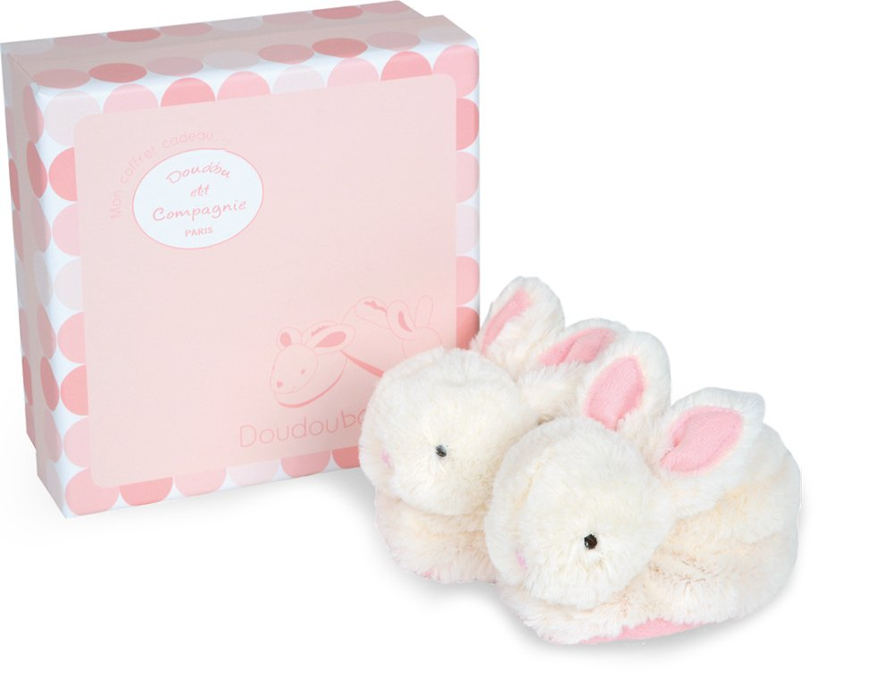DOUDOU ET COMPAGNIE - White & Pink Bunny Booties With Rattles by Doudou et Compagnie
