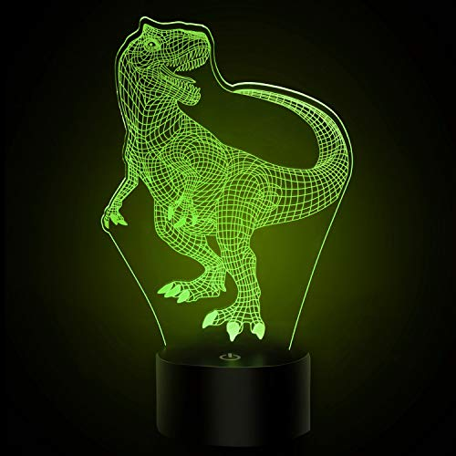 CHUNXU Dinosaur 3D Night Light 7 Colors Change Optical Illusion 3D LED Night Lights Neon with USB Ideas Birthday Gifts for Kids Baby Girls Boys