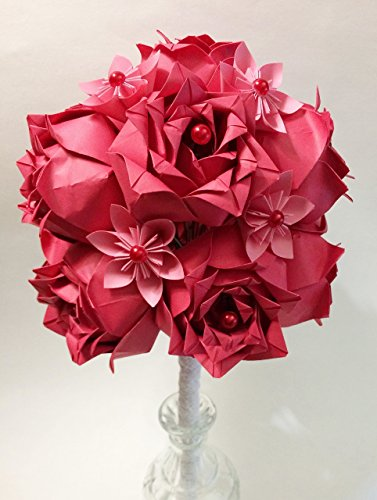 Dozen Deluxe Roses- 1st anniversary gift, wedding bouquet, paper bouquet, red rose, origami, one of a kind paper bouquet - 1 Dozen Red Rose Bouquet