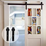 CCJH Country Antique Style Sliding Barn Wood Door Hardware Black ( Flat Style 11FT for single door)
