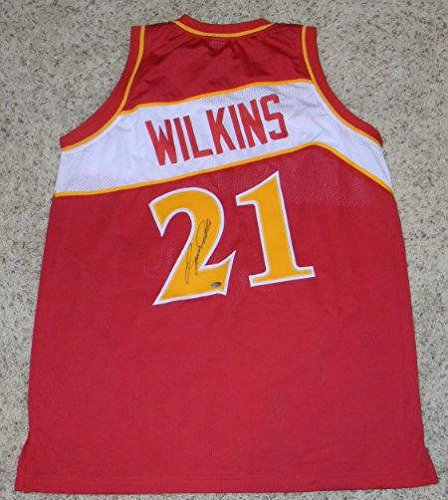Authentic Jersey (Autographed Dominique Wilkins Jersey - #21 Throwback Coa - Autographed NBA Jerseys)