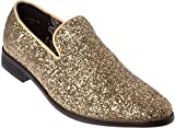 sparko04s Mens Slip-On Fashion-Loafer Sparkling-Glitter Gold Dress-Shoes Size 8.5