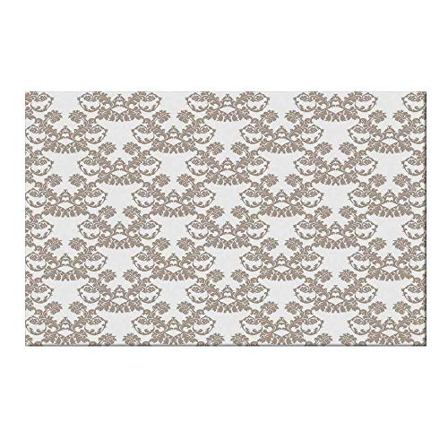 YOLIYANA Taupe Durable Door Mat,Rococo Style Flourishing Flowers Imperial Pattern Old Fashioned Classy Tile Delicate for Home Office,17.7