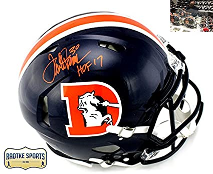 fa1bf9478d1 Terrell Davis Signed Denver Broncos Riddell Authentic NFL Speed Color Rush Helmet  With  quot HOF