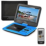 "UEME Portable DVD Player CD Player 10.1"" LCD Screen/ Remote Control/ Wall Charger Car Charger/ Canvas Headrest Mount Holder, Personal DVD Player Built-in Rechargeable Battery PD-1020 (Blue)"