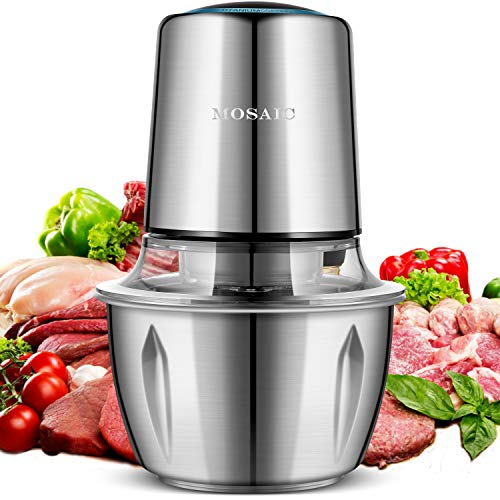 Electric Food Chopper, MOSAIC 400W Meat Grinder with 4 Titanium Coating Blades and 5-Cup Stainless Steel Bowl, 2 Speed Kitchen Processor and Mincer for Vegetable Fruit Cheese and Nuts (Best Food Processor For Pureeing Meat)