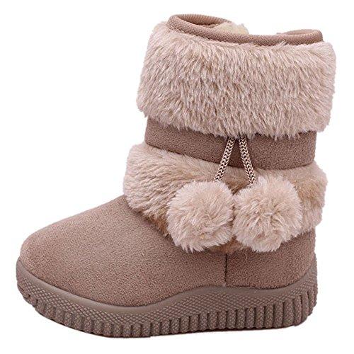 CCZZ Chica Calentar Botas De Nieve Ninos Invierno Botines Ante Anti-deslizante Zapatos Botas de Trabajo