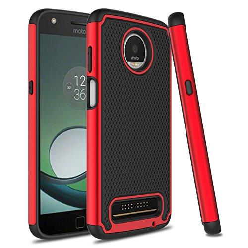 Moto Z3 Case, Moto Z3 Play Case, Venoro Slim Hybrid Dual Layer Armor Anti Scratch Shockproof Rugged Phone Protection Case Cover Compatible Motorola Moto Z3 Play/Moto Z3 (Red)