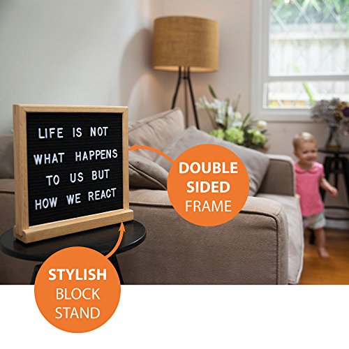 Black Letter Board White Double Sided 10x10, Stylish Stand and 600 Changeable Letters. American Oak Frame. Baby Announcement Board, Baby Shower Gift, Personalized Messaging Home. by Livvy Creations (Image #2)