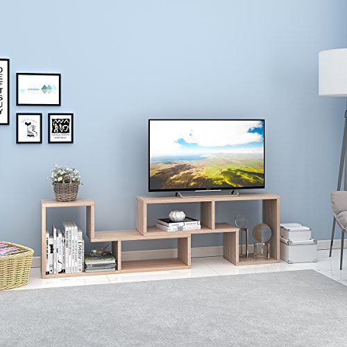 "DEVAISE TV Stand / 2 Pieces Bookcase / Bookshelf (0.94"" Thk, Oak)"
