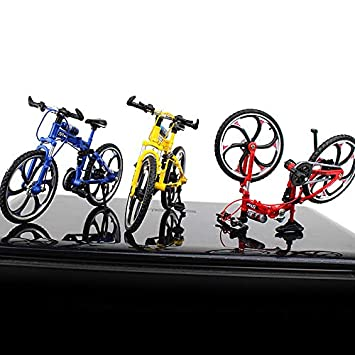 Blue MEIQING Alloy Foldable Mini Bike Finger Bike Excellent Functional Miniature Metal Toys Finger Mountain Bicycle Cool Boy Toy Creative Toy