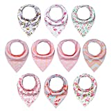 Baby : 10-Pack Baby Girl Bandana Drool Bibs for Drooling and Teething by MiiYoung