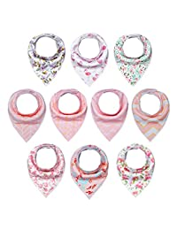 10-Pack Baby Girl Bandana Drool Bibs for Drooling and Teething by MiiYoung BOBEBE Online Baby Store From New York to Miami and Los Angeles