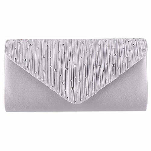 and Evening Wedding Peicees Handbags Clutch 1 for Shining Silver Party Envelope Purses Bag Womens SZXgv
