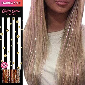 965173bbaa2af Hair Dazzle Holographic Hair Tinsel Set - Ultimate Fairy Strands Kit -  METALS MIX Color Glitter