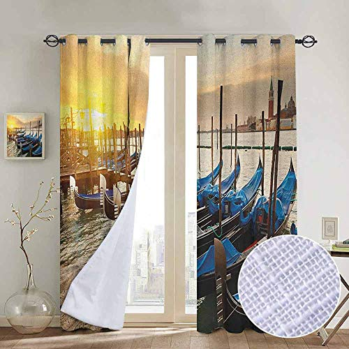 NUOMANAN Window Curtain Fabric Venice,Line of Traditional Gondolas on The Water Calm Peaceful Seascape with Rising Sun, Blue Yellow,Rod Pocket Curtain Panels for Bedroom & Living Room 52