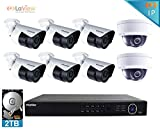 LaView 2MP 1080P IP 8 Camera Security System, 8 Channel IP PoE HDMI NVR (Resolution 1080p - 6MP) w/2TB HDD 2 Dome and 6 Bullet Hi-Res 2MP White Surveillance Camera Kit
