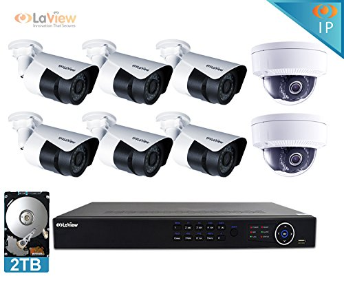 LaView 2MP 1080P IP 8 Camera Security System, 8 Channel IP PoE HDMI NVR (Resolution 1080p - 6MP) w/2TB HDD 2 Dome and 6 Bullet Hi-Res 2MP White Surveillance Camera Kit by LaView