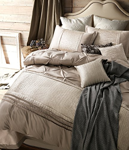 Solid Beige Duvet Cover Set King Luxury Bedding Set Vintage European Duvet Cover Set Exquisite Pinch Pleated Bedding Set Smooth Soft Washed Silk Duvet Cover Set with Zipper Closure and Corner Ties (Luxury King Duvet)