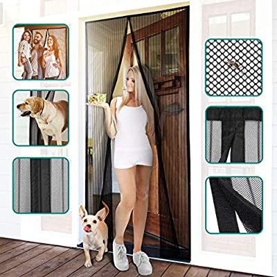 Homitt Magnetic Screen Door with Heavy Duty Mesh Curtain and Full Frame Hook&Loop