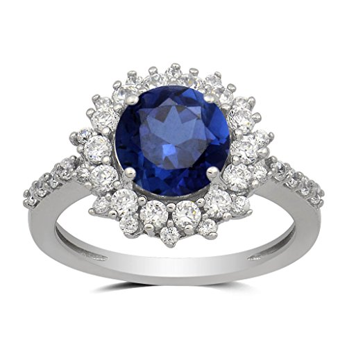 Blue Sapphire Flower (Jewelili Sterling Silver Created White Sapphire Round And Blue Sapphire Cluster Ring, Size 7)