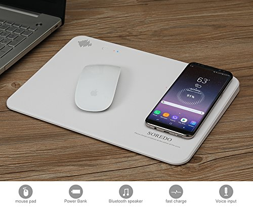 Wireless Charger, SOREDO Qi-Certified Wireless Charging Pad/Mouse Pad with bluetooth speaker for iPhone X/8/8 Plus, Nexus 5/6/7, Samsung Note 5/7,Galaxy S8/S8+/S7/S7 edge/S6-White by SOREDO
