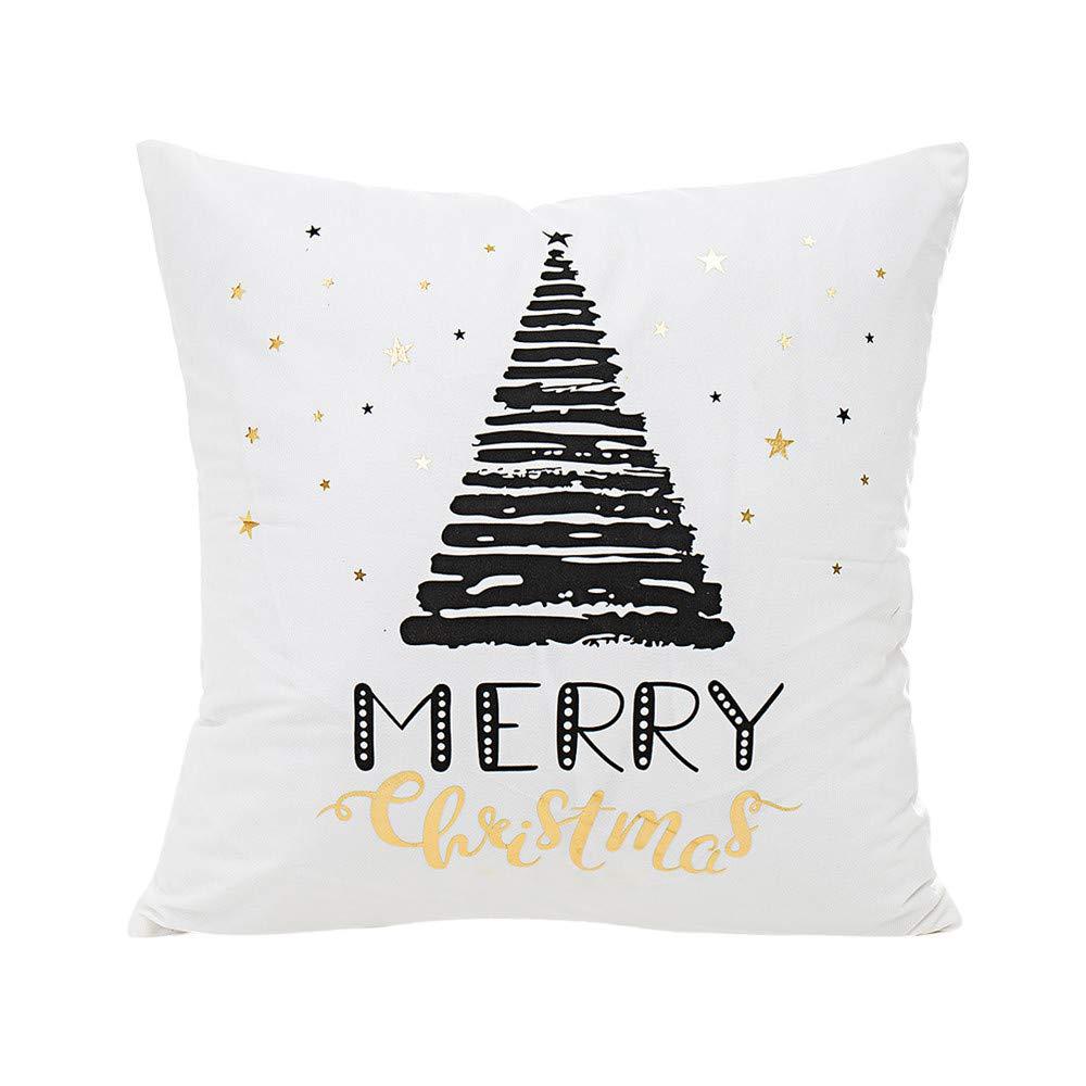 jufengliangyou Merry Christmas Gold Foil Printing Pillow Case Sofa Waist Throw Cushion Cover (A)
