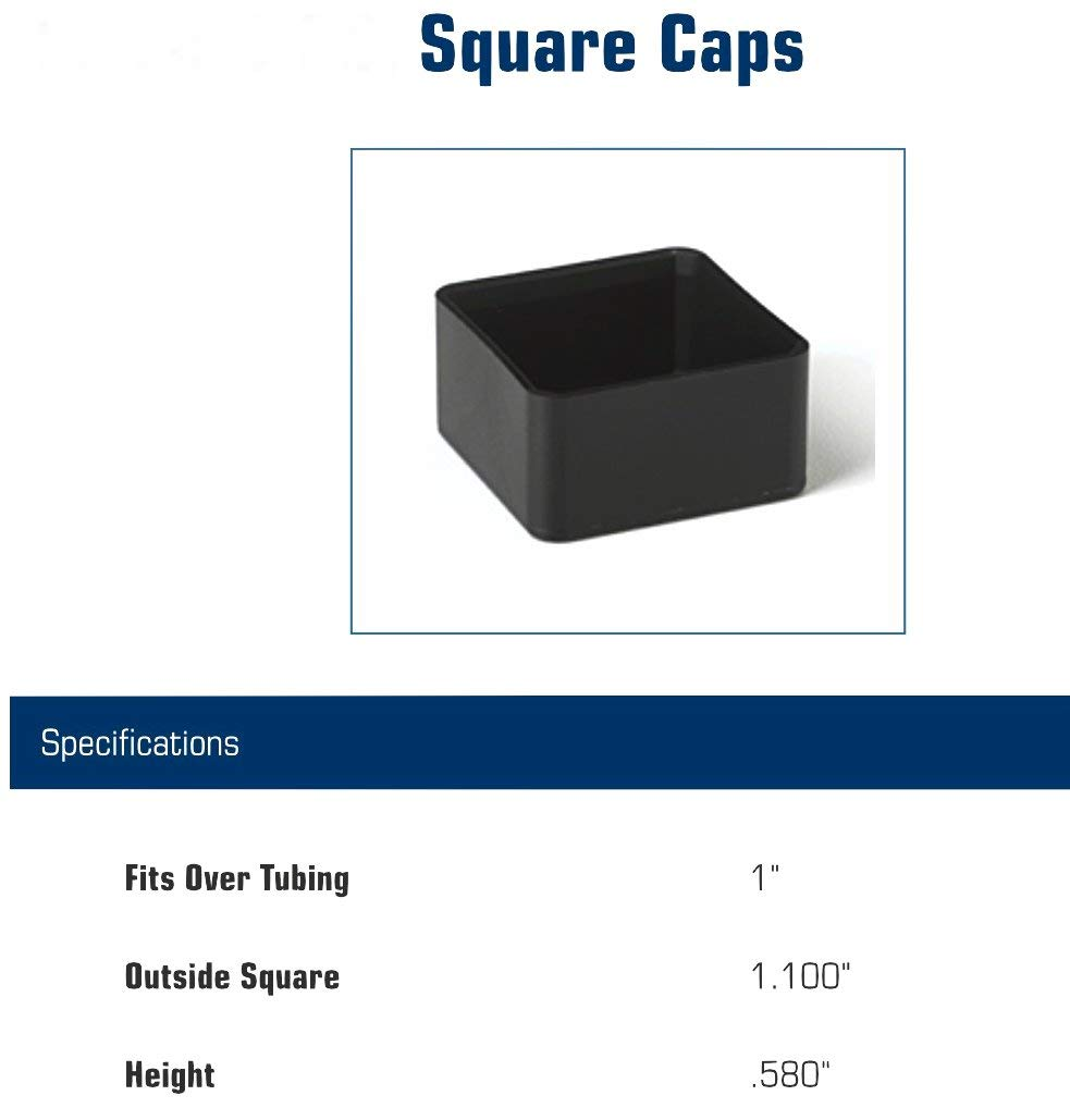 SBDs 1'' ID Square Rigid PVC Plastic TUBING Exterior END Caps | Fits 1'' OD Furniture Table/Chair Legs/Foot Covers. Floor Protectors. Cap Out Side 1.1'' SQ, Inside 1'', Height .58'' (100) by SB Distribution Ltd. (Image #2)