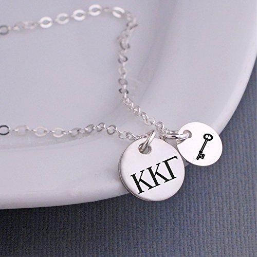 Silver Kappa Kappa Gamma Necklace with Key Charm Jewelry Gift