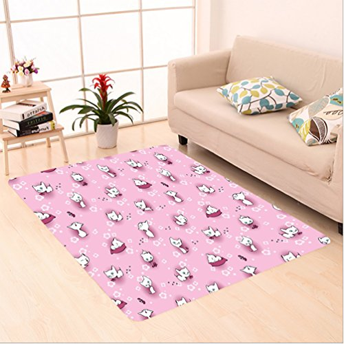 Piano White Rug (Nalahome Custom carpet ds Cute Playful Kittens in Flowers with Butterflies Cat Kitty Meow Animals Girls White Baby Pink area rugs for Living Dining Room Bedroom Hallway Office Carpet (24