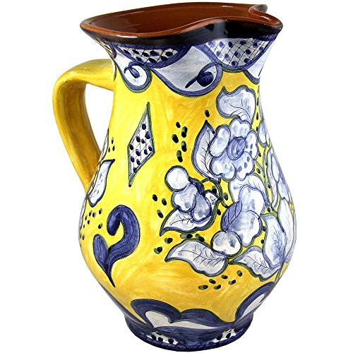 Hand Painted Vintage Traditional Portuguese Terracotta Wine Pitcher (Yellow (Yellow Hand Painted Clay)